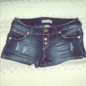 No Boundaries Short Blue Jean Shorts w/ Button Fly